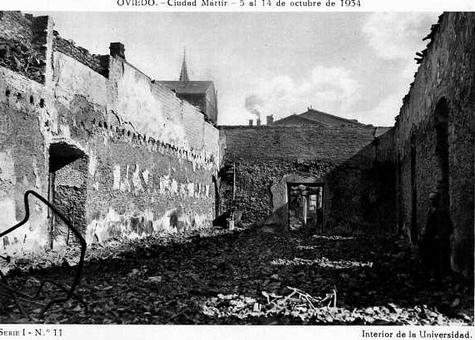 La Universidad de Oviedo tras el incendio del 13 de octubre de 1934