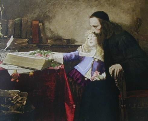 Samuel Hirszenberg, Espinosa niño en las rodillas de Uriel da Costa, 1888