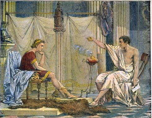 Aristóteles y su pupilo Alejandro